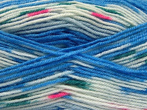 Fiber Content 75% Acrylic, 25% Wool, White, Brand Ice Yarns, Blue, Yarn Thickness 3 Light  DK, Light, Worsted, fnt2-58388