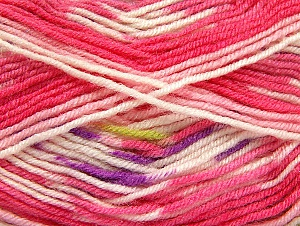 Fiber Content 75% Acrylic, 25% Wool, White, Pink, Brand Ice Yarns, Yarn Thickness 3 Light  DK, Light, Worsted, fnt2-58390