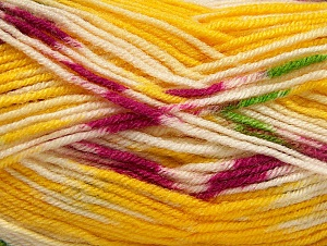 Fiber Content 75% Acrylic, 25% Wool, Yellow, White, Brand Ice Yarns, Yarn Thickness 3 Light  DK, Light, Worsted, fnt2-58391