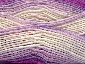 Fiber Content 75% Acrylic, 25% Wool, White, Purple, Lilac, Brand Ice Yarns, Yarn Thickness 3 Light  DK, Light, Worsted, fnt2-58392
