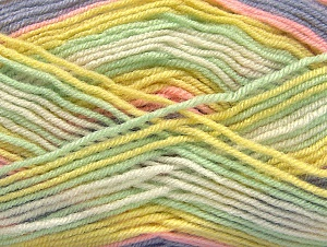 Fiber Content 75% Acrylic, 25% Wool, Yellow, White, Mint Green, Lilac, Brand Ice Yarns, Yarn Thickness 3 Light  DK, Light, Worsted, fnt2-58393