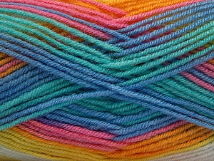 Fiber Content 75% Acrylic, 25% Wool, Yellow, White, Turquoise, Pink, Brand Ice Yarns, Blue, Yarn Thickness 3 Light  DK, Light, Worsted, fnt2-58394