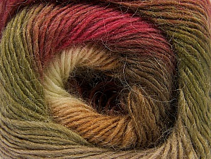 Fiber Content 60% Premium Acrylic, 20% Alpaca, 20% Wool, Brand Ice Yarns, Green, Cream, Burgundy, Brown Shades, Yarn Thickness 2 Fine  Sport, Baby, fnt2-58401