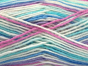 Fiber Content 75% Acrylic, 25% Wool, White, Turquoise, Pink, Lilac, Brand Ice Yarns, Blue, Yarn Thickness 3 Light  DK, Light, Worsted, fnt2-58425