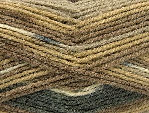 Fiber Content 50% Wool, 50% Acrylic, Brand Ice Yarns, Grey, Cream, Brown Shades, Yarn Thickness 4 Medium  Worsted, Afghan, Aran, fnt2-58451