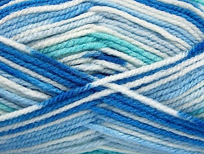 Fiber Content 100% Acrylic, White, Brand Ice Yarns, Blue Shades, Yarn Thickness 4 Medium  Worsted, Afghan, Aran, fnt2-59727