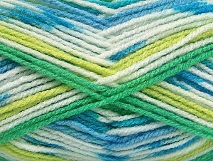 Fiber Content 100% Acrylic, White, Turquoise, Brand Ice Yarns, Green Shades, Blue, Yarn Thickness 4 Medium  Worsted, Afghan, Aran, fnt2-59728
