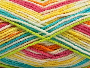 Fiber Content 100% Acrylic, Yellow, White, Turquoise, Pink, Orange, Brand Ice Yarns, Green, Yarn Thickness 4 Medium  Worsted, Afghan, Aran, fnt2-59730