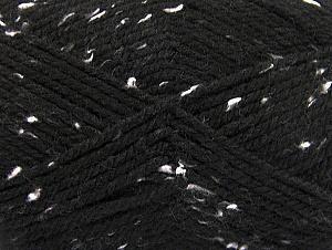Fiber Content 95% Acrylic, 5% Viscose, White, Brand Ice Yarns, Black, Yarn Thickness 4 Medium  Worsted, Afghan, Aran, fnt2-59760