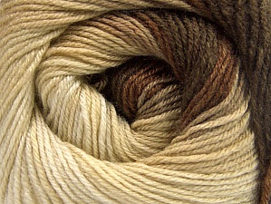 Fiber Content 70% Acrylic, 30% Merino Wool, Brand Ice Yarns, Cream, Brown Shades, Yarn Thickness 2 Fine  Sport, Baby, fnt2-59769