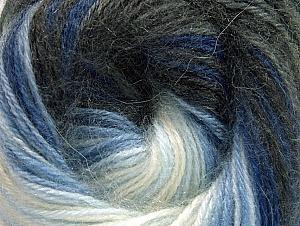 Fiber Content 60% Premium Acrylic, 20% Angora, 20% Wool, White, Brand Ice Yarns, Grey Shades, Blue Shades, Yarn Thickness 2 Fine  Sport, Baby, fnt2-60237