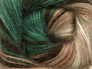 Fiber Content 60% Premium Acrylic, 20% Wool, 20% Angora, Brand Ice Yarns, Green, Cream, Brown Shades, Yarn Thickness 2 Fine  Sport, Baby, fnt2-60241