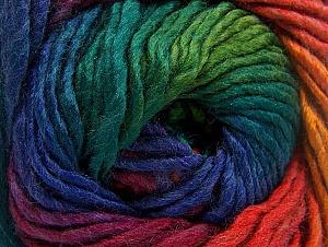 Fiber Content 50% Wool, 50% Acrylic, Rainbow, Brand Ice Yarns, Yarn Thickness 5 Bulky  Chunky, Craft, Rug, fnt2-60250