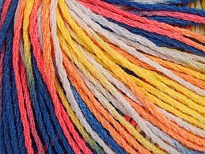 Fiber Content 100% Acrylic, Yellow, White, Salmon, Orange, Brand Ice Yarns, Blue Shades, Yarn Thickness 2 Fine  Sport, Baby, fnt2-60466