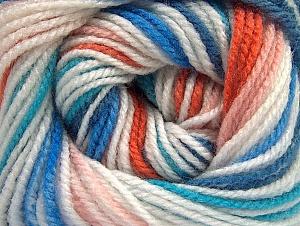 Fiber Content 100% Premium Acrylic, Turquoise, Orange, Light Pink, Brand Ice Yarns, Blue, Yarn Thickness 3 Light  DK, Light, Worsted, fnt2-60878