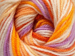 Fiber Content 100% Premium Acrylic, White, Orange Shades, Lilac, Brand Ice Yarns, Yarn Thickness 3 Light  DK, Light, Worsted, fnt2-60880