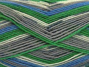Fiber Content 75% Superwash Wool, 25% Polyamide, White, Brand Ice Yarns, Grey Shades, Green, Blue, Yarn Thickness 1 SuperFine  Sock, Fingering, Baby, fnt2-60904