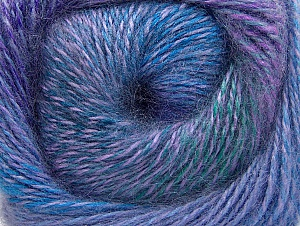 Fiber Content 75% Premium Acrylic, 15% Wool, 10% Mohair, Purple, Lilac, Brand ICE, Green, Blue Shades, Yarn Thickness 2 Fine  Sport, Baby, fnt2-61005