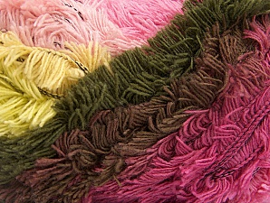Fiber Content 95% Acrylic, 5% Polyester, Pink Shades, Light Yellow, Brand Ice Yarns, Dark Khaki, Yarn Thickness 6 SuperBulky  Bulky, Roving, fnt2-61124