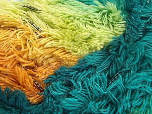 Fiber Content 95% Acrylic, 5% Polyester, Turquoise Shades, Orange, Light Green, Brand Ice Yarns, Gold, Camel, Yarn Thickness 6 SuperBulky  Bulky, Roving, fnt2-61126
