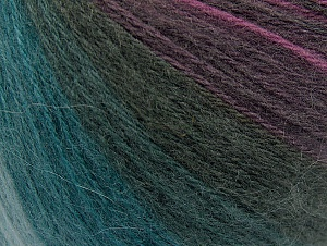 Fiber Content 60% Acrylic, 20% Wool, 20% Angora, Teal, Purple Shades, Brand Ice Yarns, Anthracite, Yarn Thickness 2 Fine  Sport, Baby, fnt2-61198