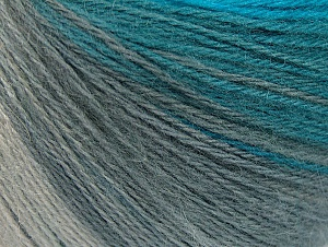 Fiber Content 60% Acrylic, 20% Wool, 20% Angora, Turquoise Shades, Brand Ice Yarns, Grey Shades, Yarn Thickness 2 Fine  Sport, Baby, fnt2-61203