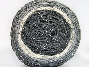 Fiber Content 95% Acrylic, 5% Metallic Lurex, White, Brand Ice Yarns, Grey Shades, Yarn Thickness 3 Light  DK, Light, Worsted, fnt2-61251