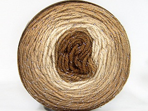 Fiber Content 95% Acrylic, 5% Metallic Lurex, Brand Ice Yarns, Cream, Brown Shades, Yarn Thickness 3 Light  DK, Light, Worsted, fnt2-61252