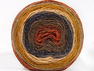 Fiber Content 95% Acrylic, 5% Metallic Lurex, Navy, Brand Ice Yarns, Gold, Copper, Camel, Brown, Beige, Yarn Thickness 3 Light  DK, Light, Worsted, fnt2-61253