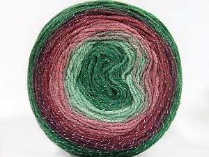 Fiber Content 95% Acrylic, 5% Metallic Lurex, Rose Pink, Maroon, Brand Ice Yarns, Green Shades, Yarn Thickness 3 Light  DK, Light, Worsted, fnt2-61262