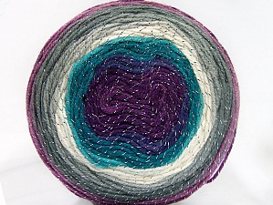 Fiber Content 95% Acrylic, 5% Metallic Lurex, Turquoise Shades, Purple Shades, Brand Ice Yarns, Grey Shades, Yarn Thickness 3 Light  DK, Light, Worsted, fnt2-61263
