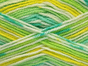 Fiber Content 100% Acrylic, Yellow, White, Brand Ice Yarns, Green Shades, Yarn Thickness 4 Medium  Worsted, Afghan, Aran, fnt2-61342