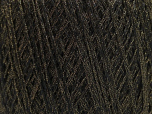 Fiber Content 85% Viscose, 15% Metallic Lurex, Brand Ice Yarns, Gold, Black, Yarn Thickness 3 Light  DK, Light, Worsted, fnt2-62218