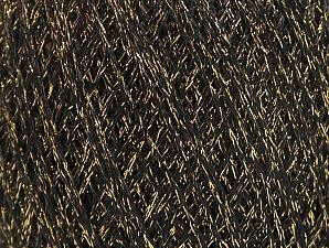 Fiber Content 75% Viscose, 25% Metallic Lurex, Brand Ice Yarns, Gold, Black, Yarn Thickness 2 Fine  Sport, Baby, fnt2-62221