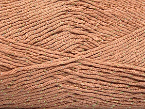 Fiber Content 49% Premium Acrylic, 49% Cotton, 2% Metallic Lurex, Light Salmon, Brand Ice Yarns, Yarn Thickness 2 Fine  Sport, Baby, fnt2-62887