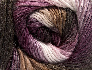 This is a self-striping yarn. Please see package photo for the color combination. Fiber Content 100% Premium Acrylic, White, Purple, Lilac, Brand Ice Yarns, Brown Shades, Yarn Thickness 3 Light  DK, Light, Worsted, fnt2-62900