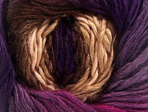 This is a self-striping yarn. Please see package photo for the color combination. Fiber Content 100% Premium Acrylic, Purple Shades, Brand Ice Yarns, Fuchsia, Brown Shades, Yarn Thickness 3 Light  DK, Light, Worsted, fnt2-62901