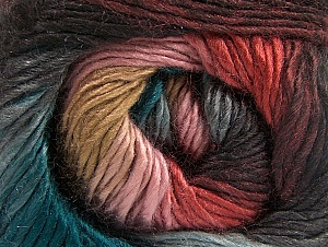 This is a self-striping yarn. Please see package photo for the color combination. Fiber Content 100% Premium Acrylic, Teal, Salmon, Pink, Brand Ice Yarns, Camel, Anthracite Black, Yarn Thickness 3 Light  DK, Light, Worsted, fnt2-62904