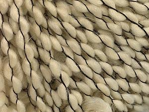 Fiber Content 60% Wool, 30% Acrylic, 10% Polyamide, Brand Ice Yarns, Cream, Black, fnt2-62977