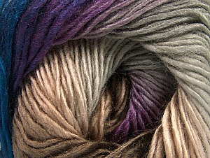 This is a self-striping yarn. Please see package photo for the color combination. Fiber Content 100% Premium Acrylic, Purple, Navy, Brand Ice Yarns, Grey, Brown, Yarn Thickness 3 Light  DK, Light, Worsted, fnt2-63036