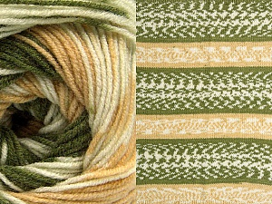 Fiber Content 70% Acrylic, 30% Wool, Brand Ice Yarns, Green, Cream, Cafe Latte, Yarn Thickness 3 Light  DK, Light, Worsted, fnt2-63204