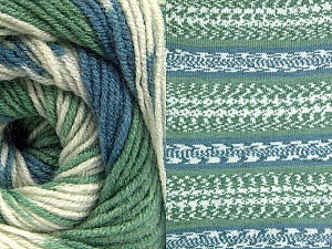 Fiber Content 70% Acrylic, 30% Wool, Brand Ice Yarns, Green, Cream, Blue, Yarn Thickness 3 Light  DK, Light, Worsted, fnt2-63207