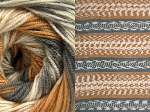 Fiber Content 70% Acrylic, 30% Wool, Light Brown, Brand Ice Yarns, Grey, Cream, Yarn Thickness 3 Light  DK, Light, Worsted, fnt2-63210