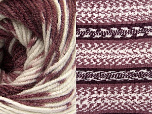 Fiber Content 70% Acrylic, 30% Wool, White, Maroon Shades, Brand Ice Yarns, Yarn Thickness 3 Light  DK, Light, Worsted, fnt2-63217