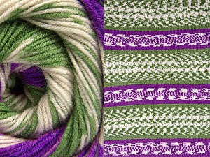 Fiber Content 70% Acrylic, 30% Wool, Purple, Brand Ice Yarns, Green, Cream, Yarn Thickness 3 Light  DK, Light, Worsted, fnt2-63218