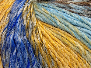Fiber Content 70% Acrylic, 30% Wool, Yellow, Brand Ice Yarns, Grey, Brown, Blue Shades, Yarn Thickness 4 Medium  Worsted, Afghan, Aran, fnt2-63452