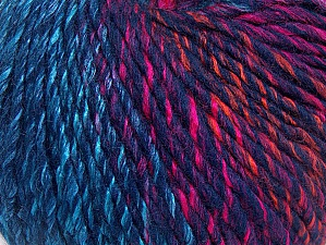 Fiber Content 70% Acrylic, 30% Wool, Turquoise, Pink, Orange, Navy, Brand Ice Yarns, Yarn Thickness 4 Medium  Worsted, Afghan, Aran, fnt2-63459