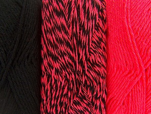 Fiber Content 90% Acrylic, 10% Polyester, Neon Pink, Brand Ice Yarns, Black, Yarn Thickness 3 Light  DK, Light, Worsted, fnt2-64026