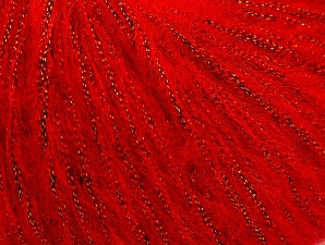 Fiber Content 30% Acrylic, 30% Polyester, 25% Wool, 15% Metallic Lurex, Red, Brand Ice Yarns, Yarn Thickness 4 Medium  Worsted, Afghan, Aran, fnt2-64180