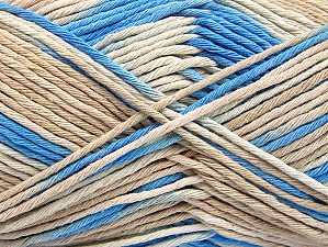 Fiber Content 100% Cotton, Brand Ice Yarns, Cream, Blue, Beige, Yarn Thickness 4 Medium  Worsted, Afghan, Aran, fnt2-64188
